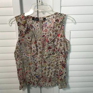 A.n.a colorful floral ruffle sleeveless blouse, PS